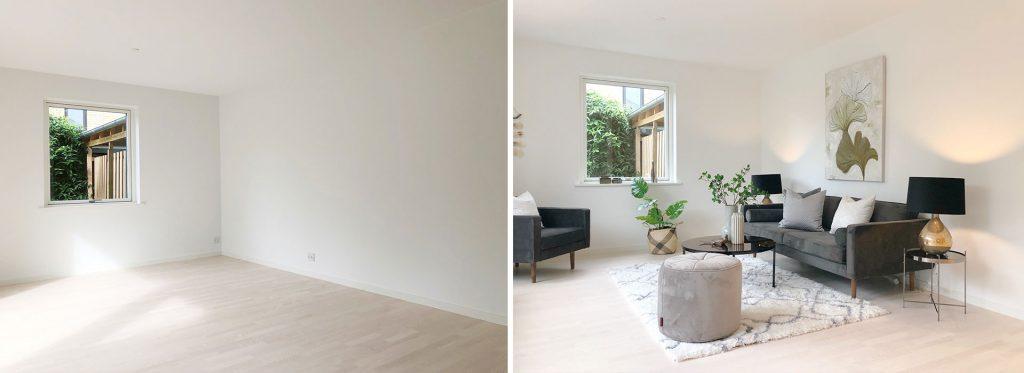 Før: En tom bolig sælger ikke nær så godt som en bolig, der er flot møbleret i en varm og indbydende stil.