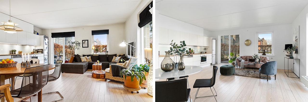 Andre af de 5 professionelle tips til boligstyling ved boligsalg er, fremhæve boligens kvadratmeter og kvaliteter. Lyst og luftigt er bedre end mørkt og overfyldt.